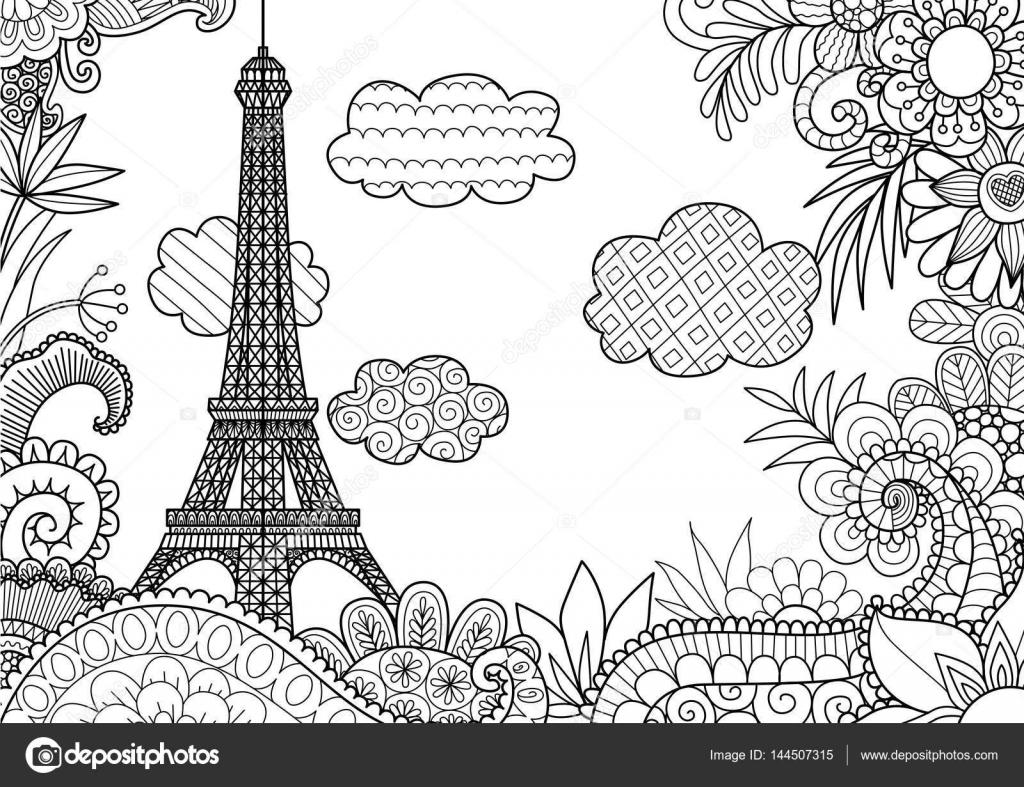 Primavera Em Paris — Vetores De Stock © Somjaicindy@Gmail à Tour Eiffel À Imprimer