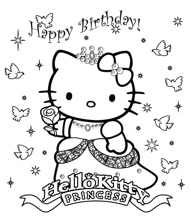 Princess Hello Kitty Image To Color à Dessin À Imprimer Hello Kitty