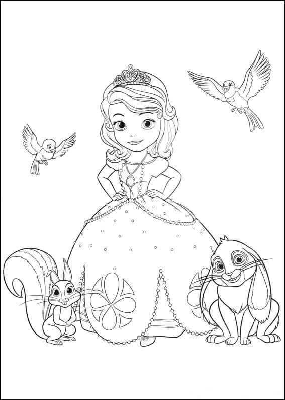 Princess Sofia With Her Pets Coloring Page | Színezőlapok concernant Coloriage Princesse Sofia