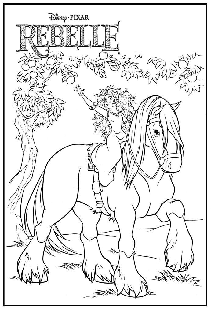 Princesse Merida Sur Son Cheval Angus | Coloriage encequiconcerne Coloriage A Imprimer Licorne Et Princesse