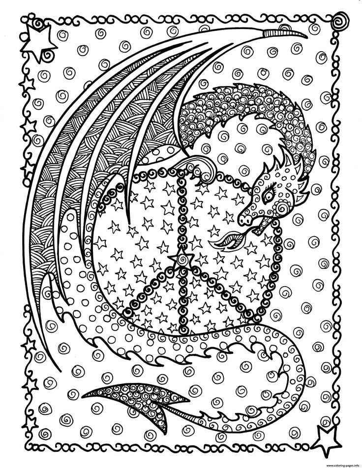 Print Adult Dragon De La Peace By Deborah Muller Coloring encequiconcerne Coloriage Difficile Dragon