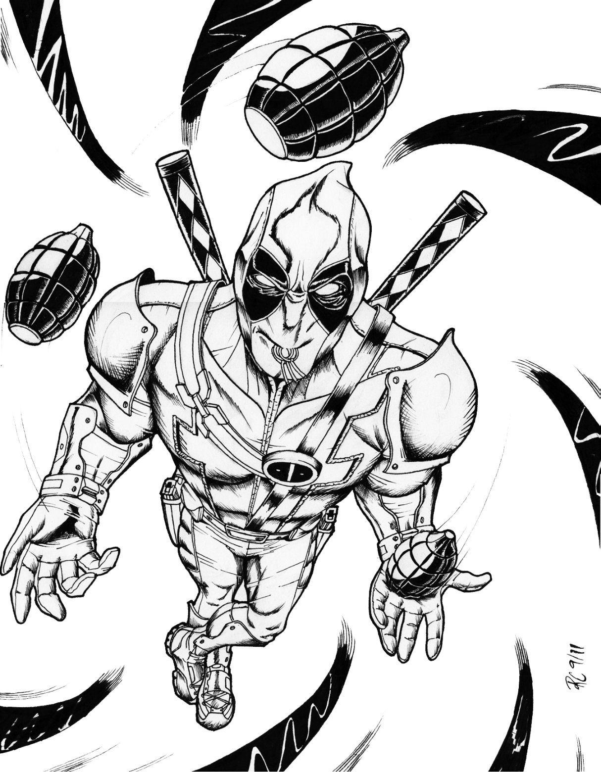 Printable Coloring Pages - Deadpool (Superheroes à Coloriage Super Hero