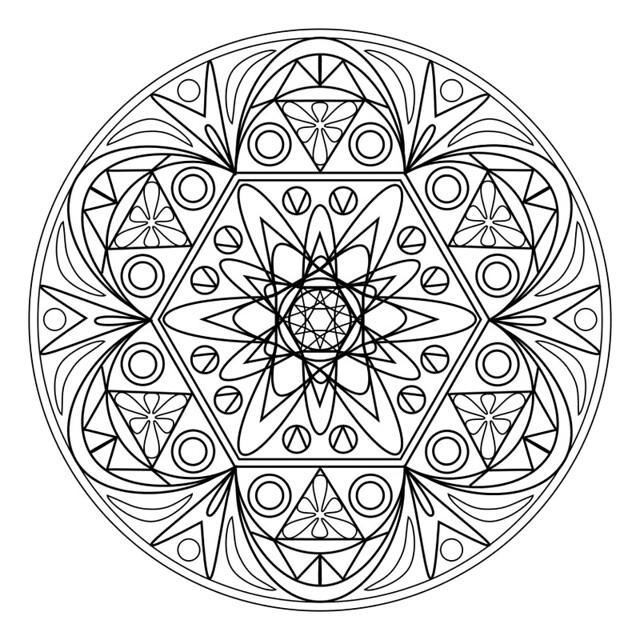 Printable Mandala 1 - Ruthart | Drawn As A Vector In Psp destiné Coloriage De Mandala Difficile A Imprimer