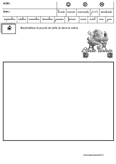 Puzzle - Jeux De La Rentrée – Maternelle – Petite, Moyenne concernant La Rentree En Grande Section