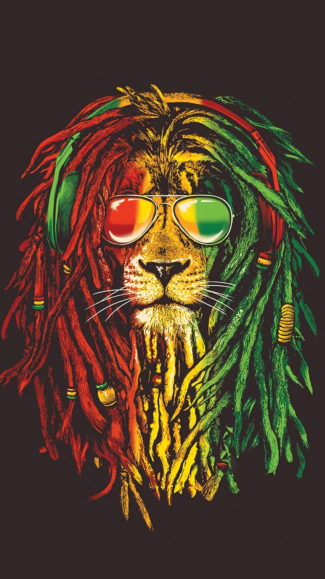 Rasta Lion 2 | Reggae Art serapportantà Dessin De Rasta