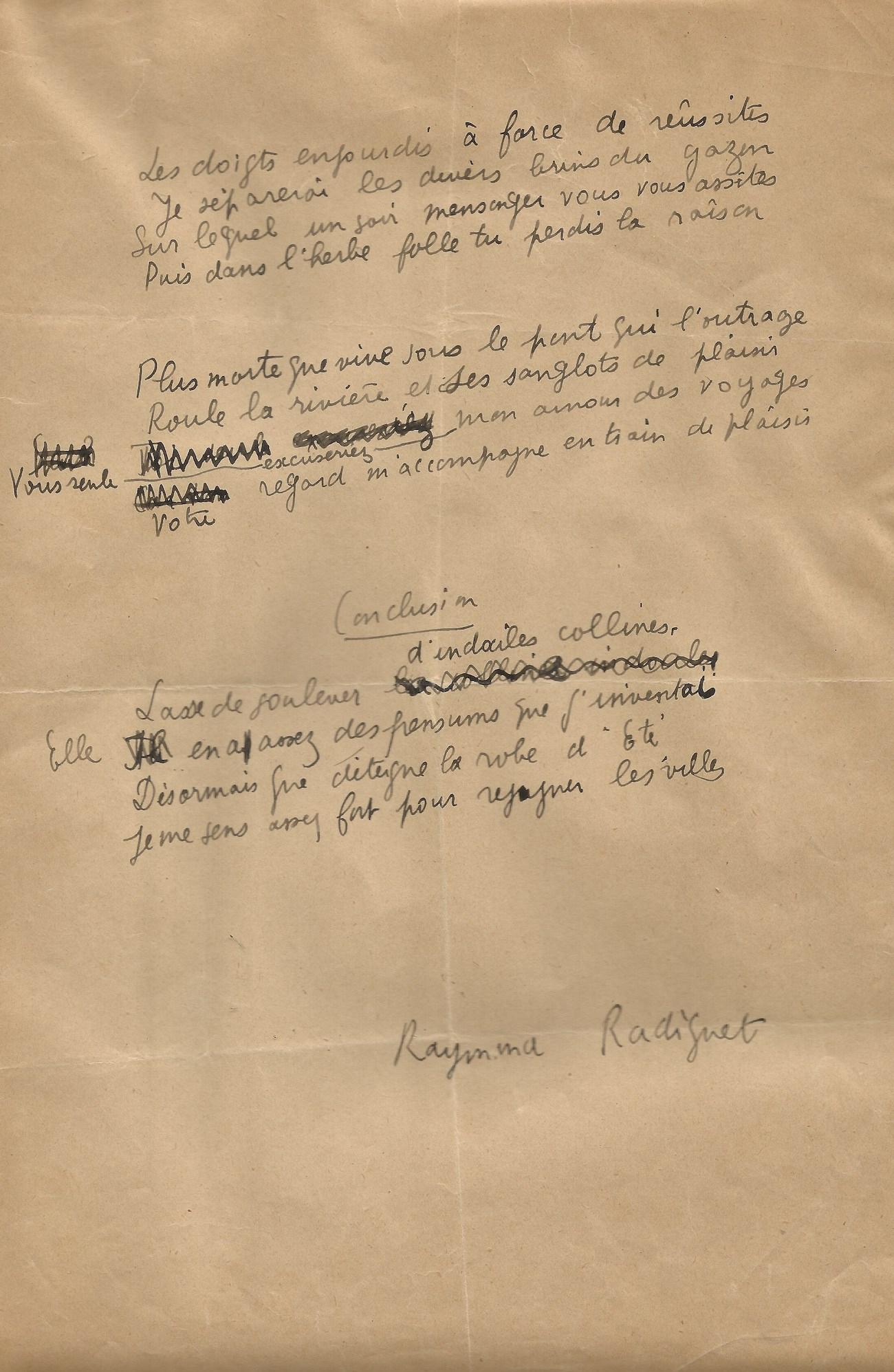 Raymond Radiguet – Poème Autographe Signé – Les Joues En à Po?Sie Vive Les Vacances