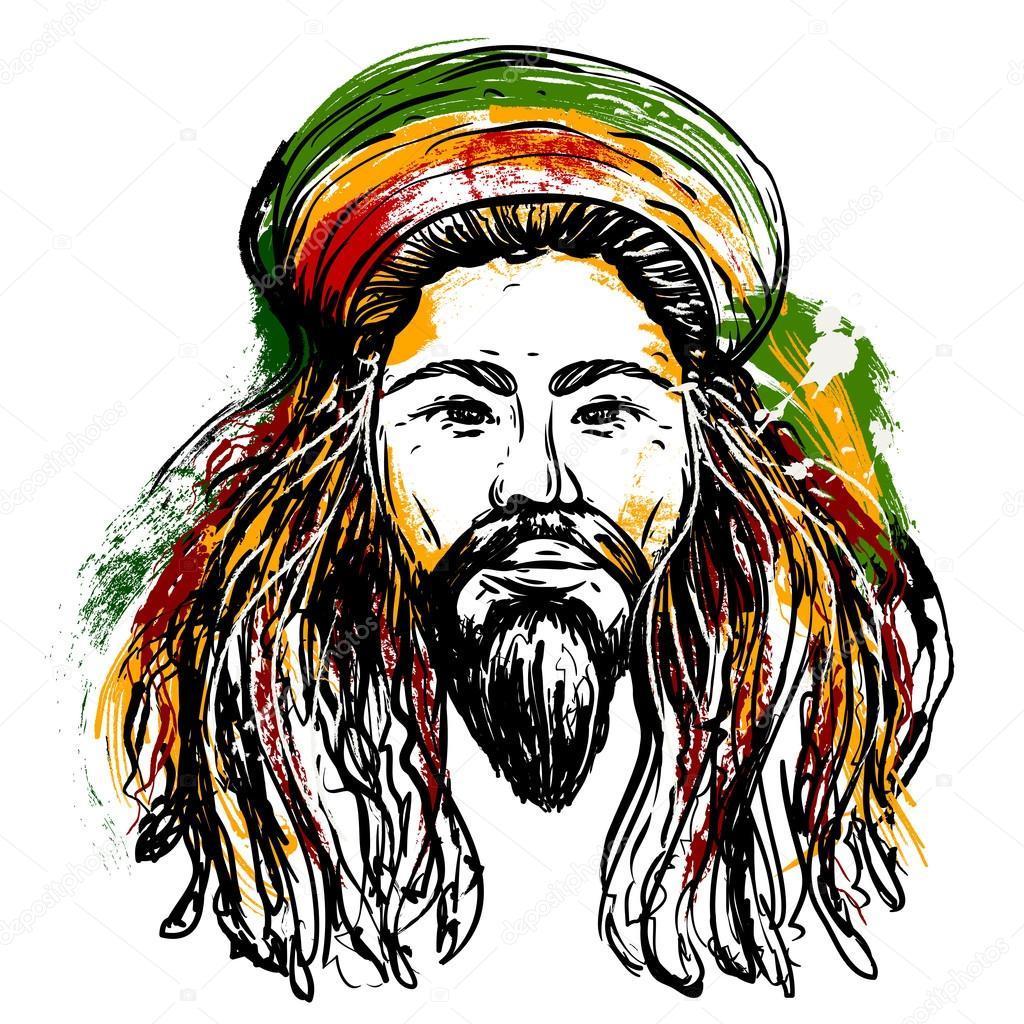 Retrato De Rastaman. Tema Da Jamaica. Projeto De Conceito intérieur Dessin De Rasta
