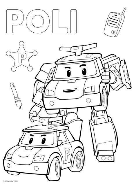 Robocar Poli Coloring Page Printable - 2020 | 색칠 활동, 색칠공부 à Robocar Poli Coloriage A Imprimer