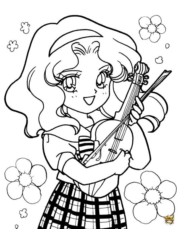 Sailor Neptune Violon Est Un Coloriage De Sailor Moon pour Coloriage Sailor Moon A Imprimer