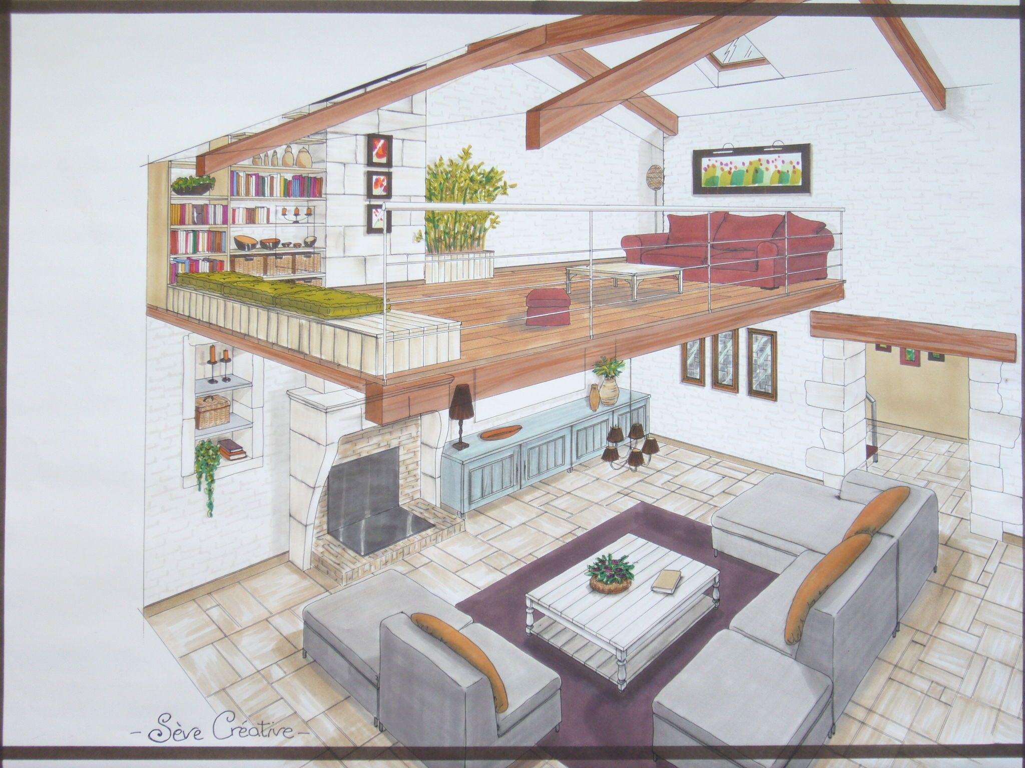 Salon Mezzanine | Maison Dessin, Architecte Interieur à Dessin De Maison Moderne