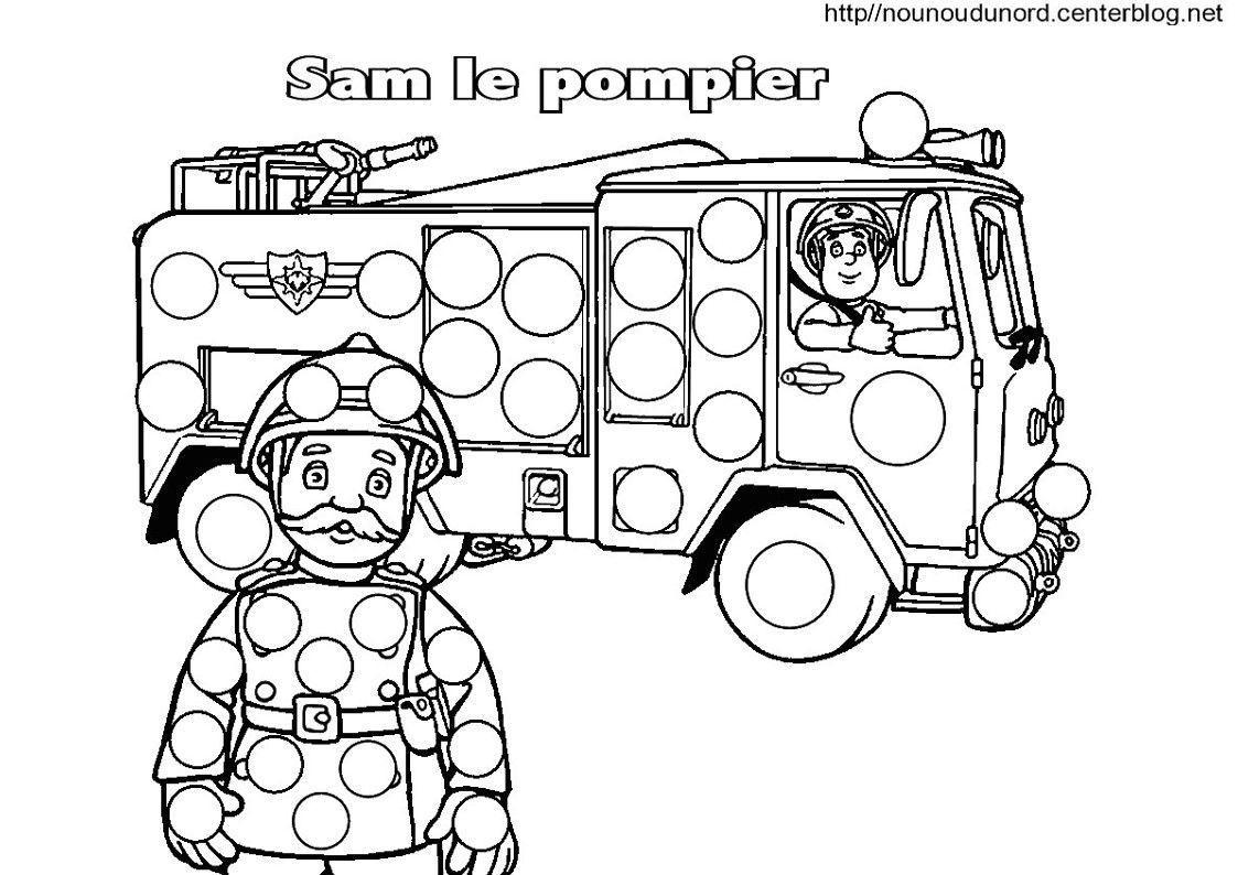 Sam Le Pompier Coloriage Pour Les Gommettes tout Coloriage Camion A Imprimer