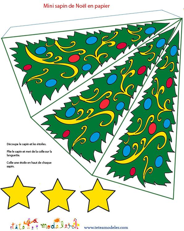 Sapin De Noël En Papier À Imprimer - Noel Sur Tete A Modeler destiné Dessin A Decouper Gratuit