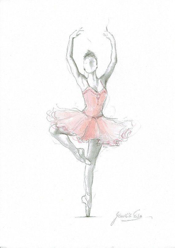 Set Von 4 Drucke, Ballerina Kunst, Rosa Ballerina destiné Dessin Danseuse Classique