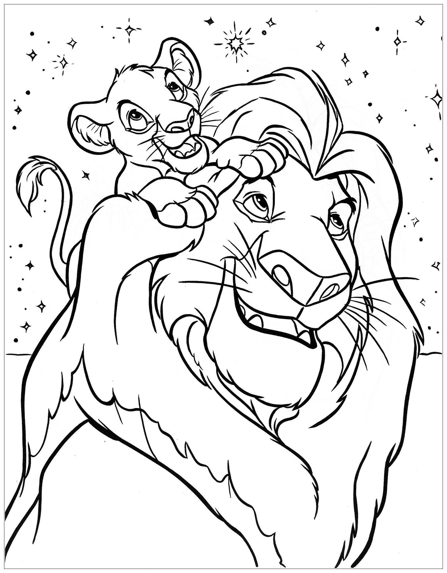 Simba Et Son Père - Coloriage Le Roi Lion - Coloriages avec Lion Dessin Enfant