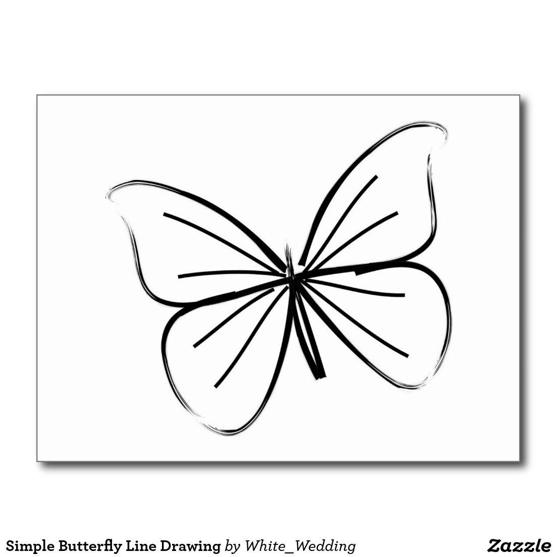 Simple Butterfly Line Drawing Postcard | Zazzle avec Papillon Dessin Facile