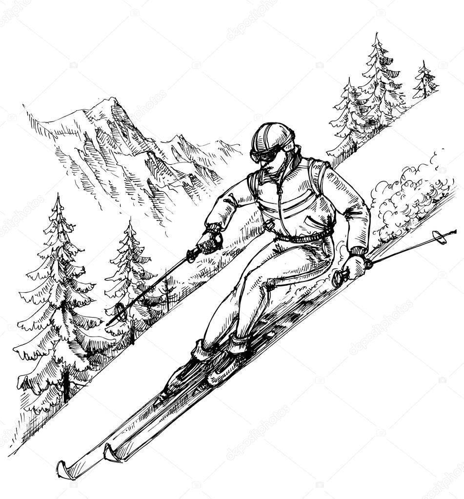 Ski Sport, Ski De Fond, Snowboard Concept Vector intérieur Dessin De Ski
