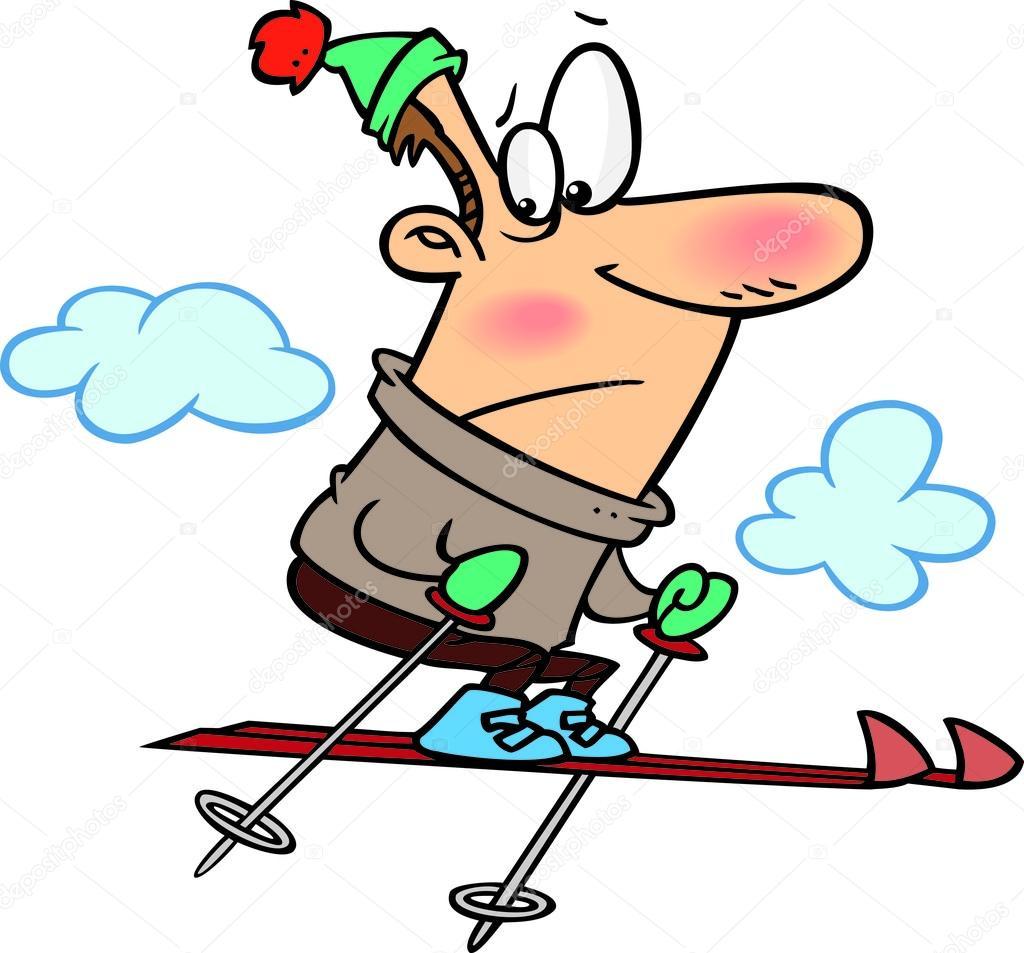 Skieur De Neige Dessin Animé — Image Vectorielle tout Dessin De Ski