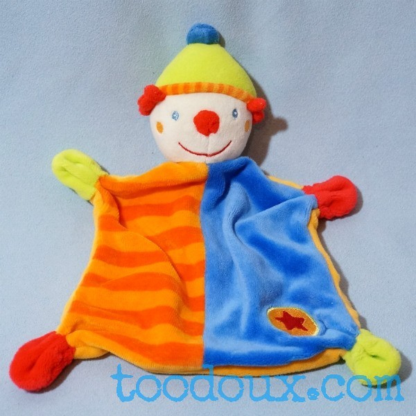 Sos Doudou Clown Baby Club C&A Plat Bleu Et Orange Étoile destiné Clowns Etoile