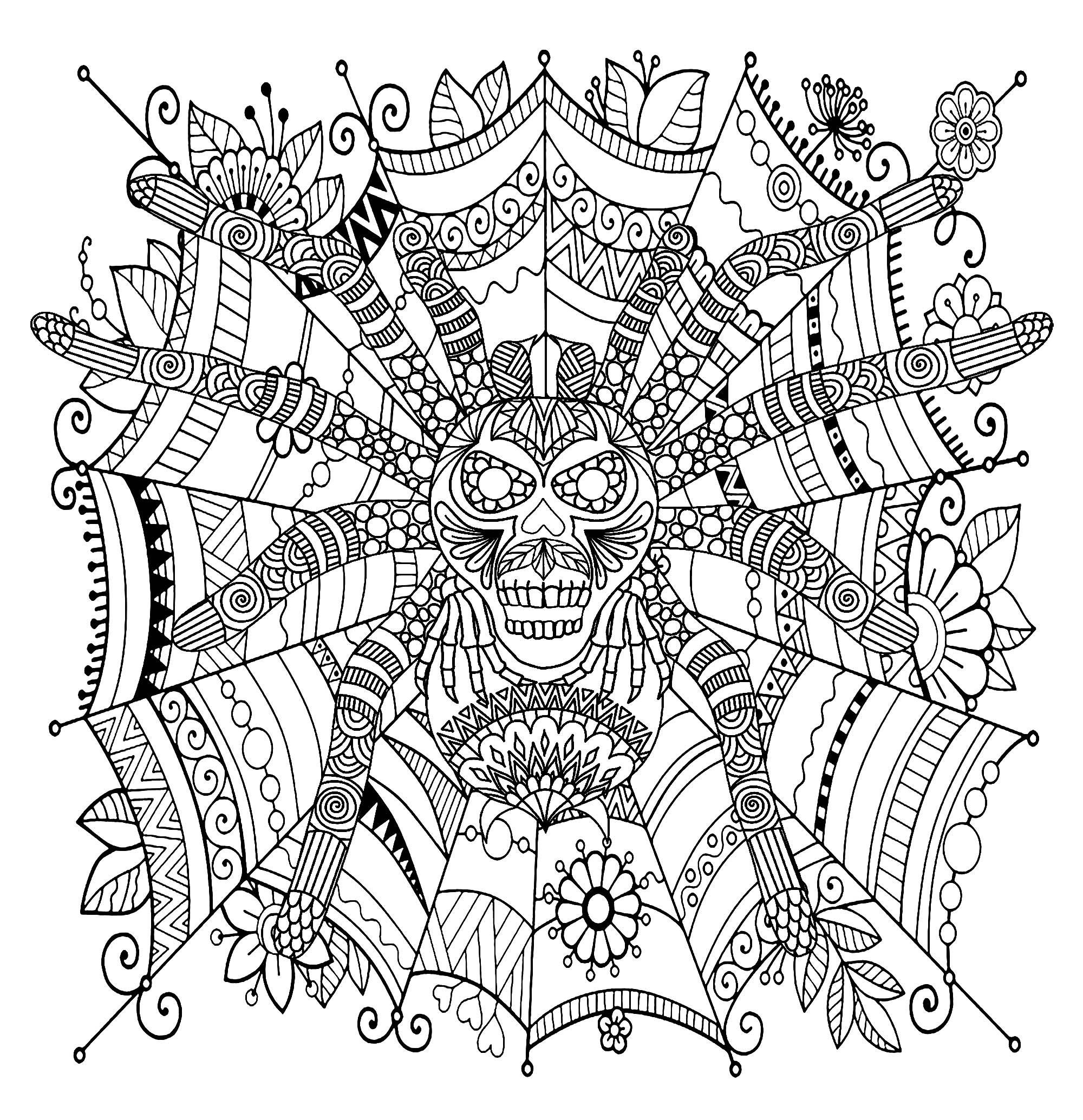 Spider Mandala - M&Alas Adult Coloring Pages concernant Coloriages