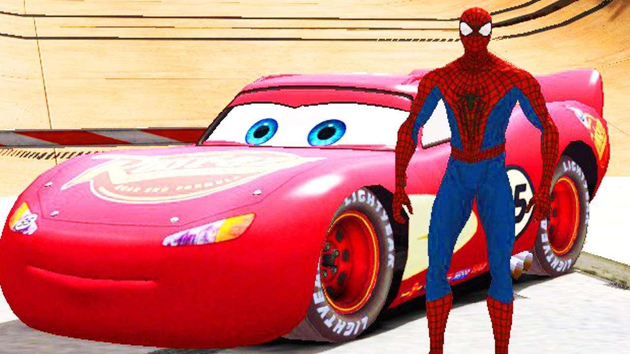 Spiderman Danse Avec Flash Mcqueen Disney Cars 2 | Dessin concernant Coloriage Flash Mcqueen