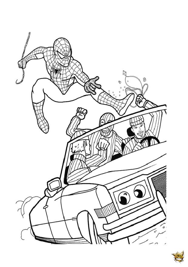 Spiderman Voiture Est Un Coloriage De Spiderman avec Dessin A Imprimer Spiderman 4