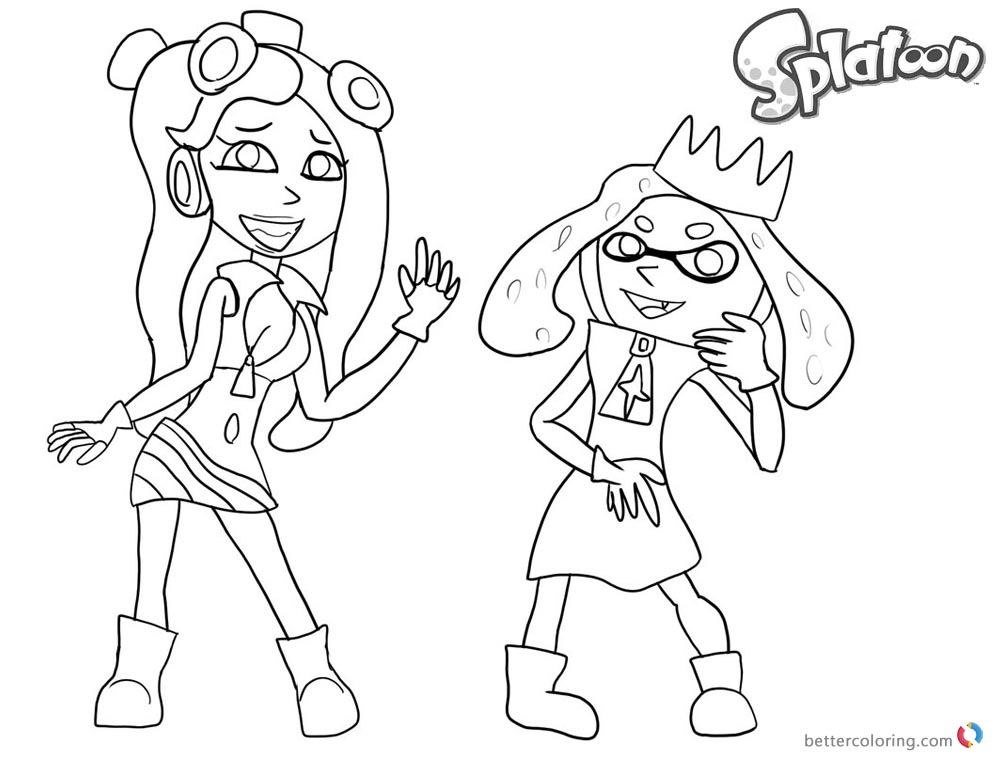 Splatoon Coloring Pages Splatoon 2 Pearl And Marina Sketch serapportantà Coloriage Splatoon