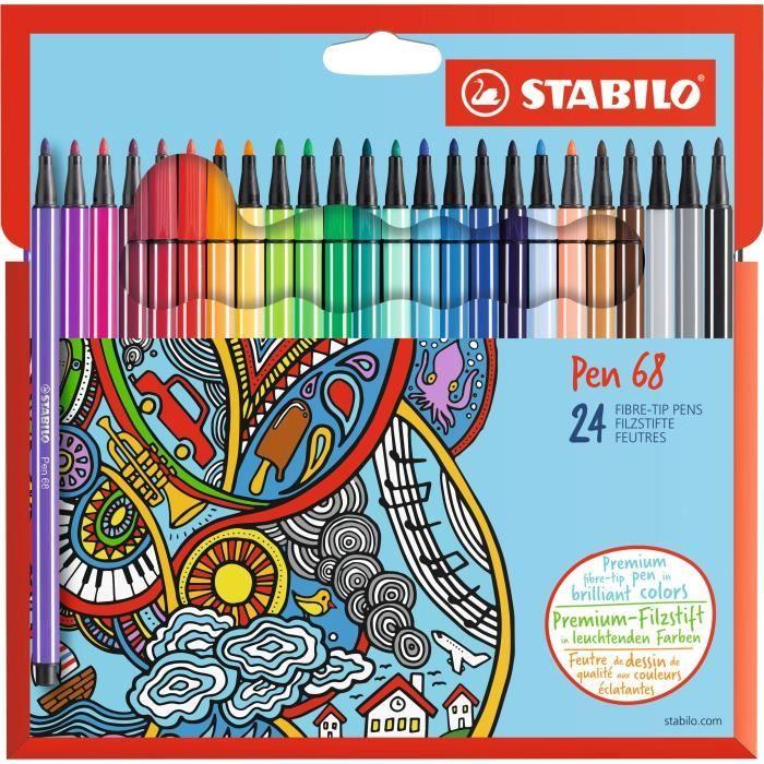 Stabilo - Etui Carton De 24 Feutres De Coloriage Pen 68 serapportantà Boite De Feutres Coloriage