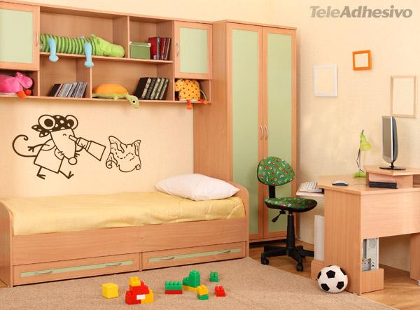 Sticker Muraux Chambre De Bébé Garçon Souris Pirate Et La intérieur Cherche Coffre De Pirate