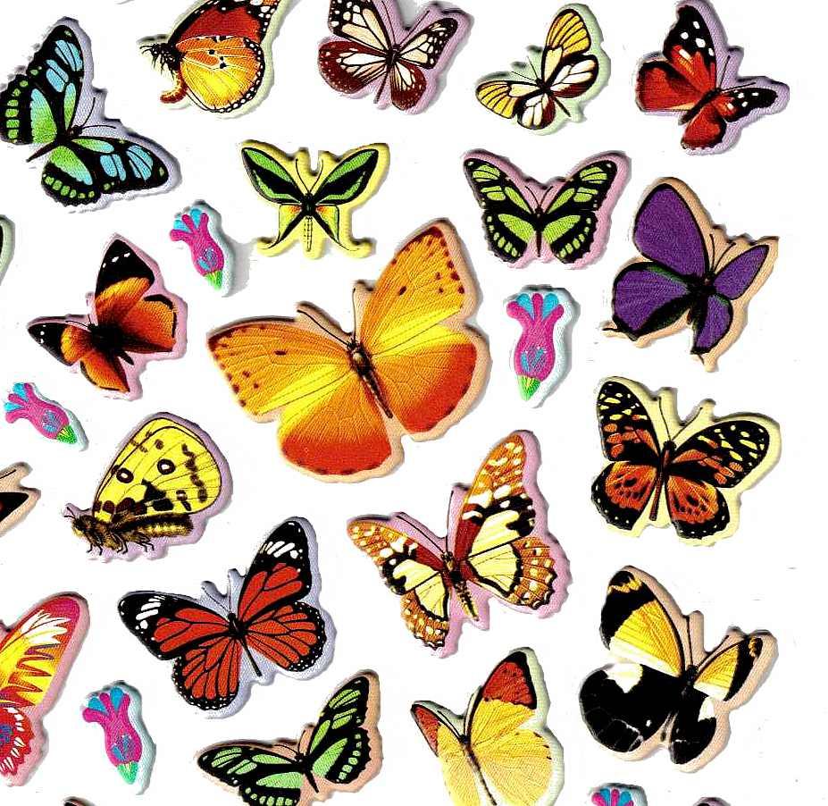 Stickers Papillons Grande Taille 3D - Gommettes Enfants serapportantà Dessin De Papillon En Couleur