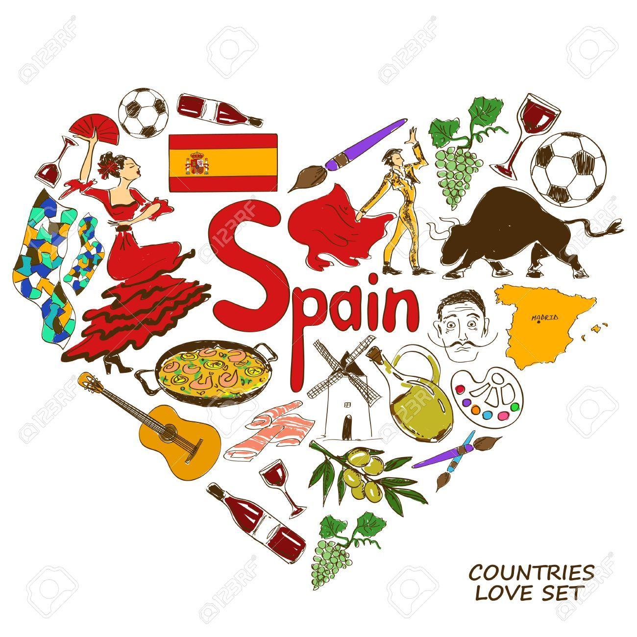 Stock Photo   Symbole Espagnol, Croquis Et Espagnol avec Dessin D Espagne