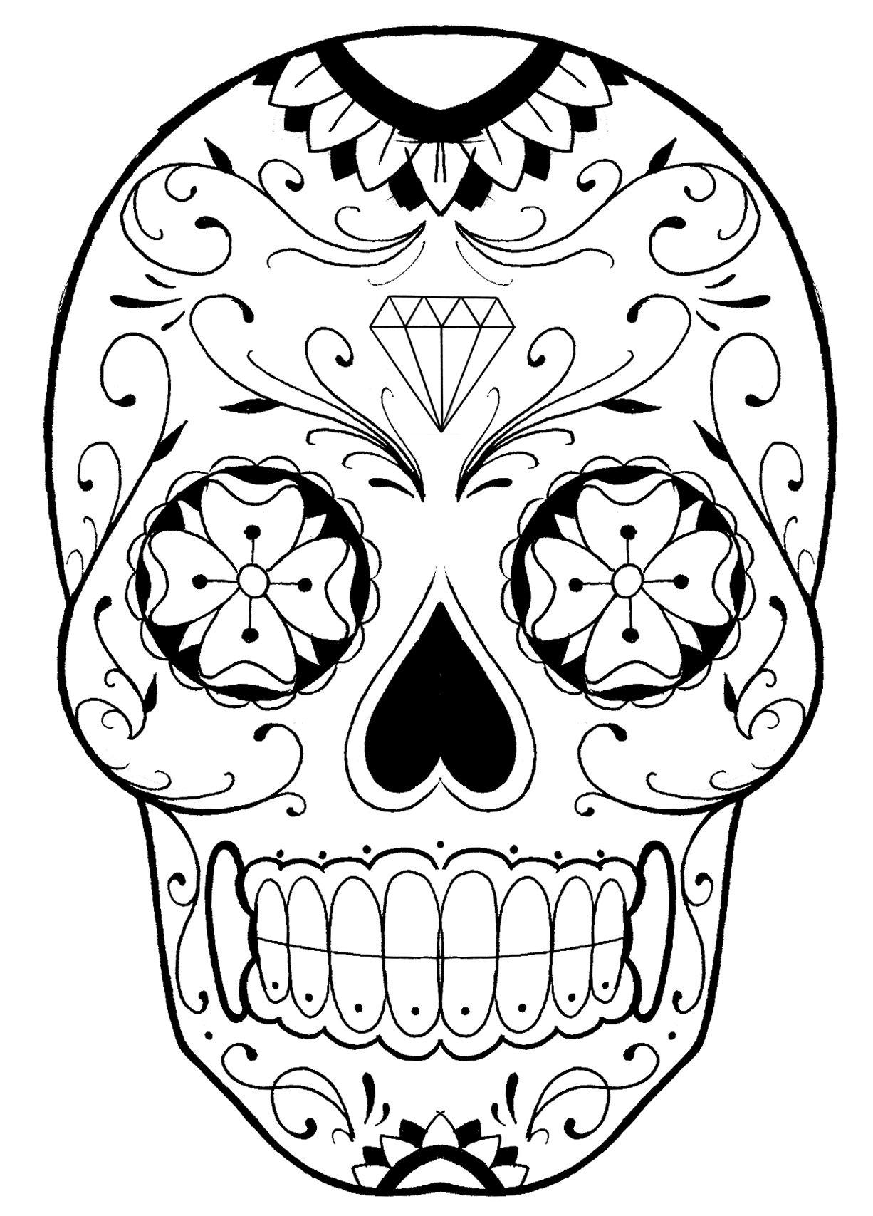 Sugar Skull | Coloriage Tête De Mort, Coloriage Halloween pour Tete De Mort A Colorier