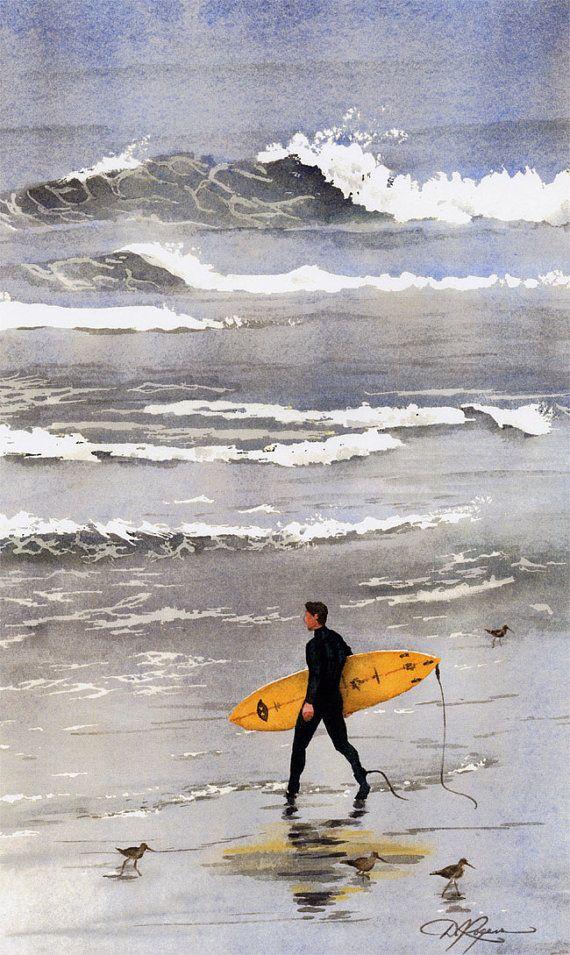 Surfeur California Surf Aquarelle Signée Art Print Artiste destiné Dessin Surfeur