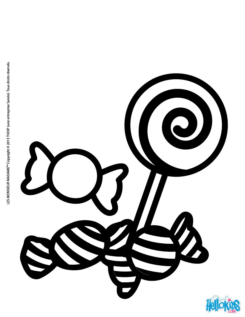 Sweets And Candies Coloring Pages - Hellokids serapportantà Coloriage Bonbons