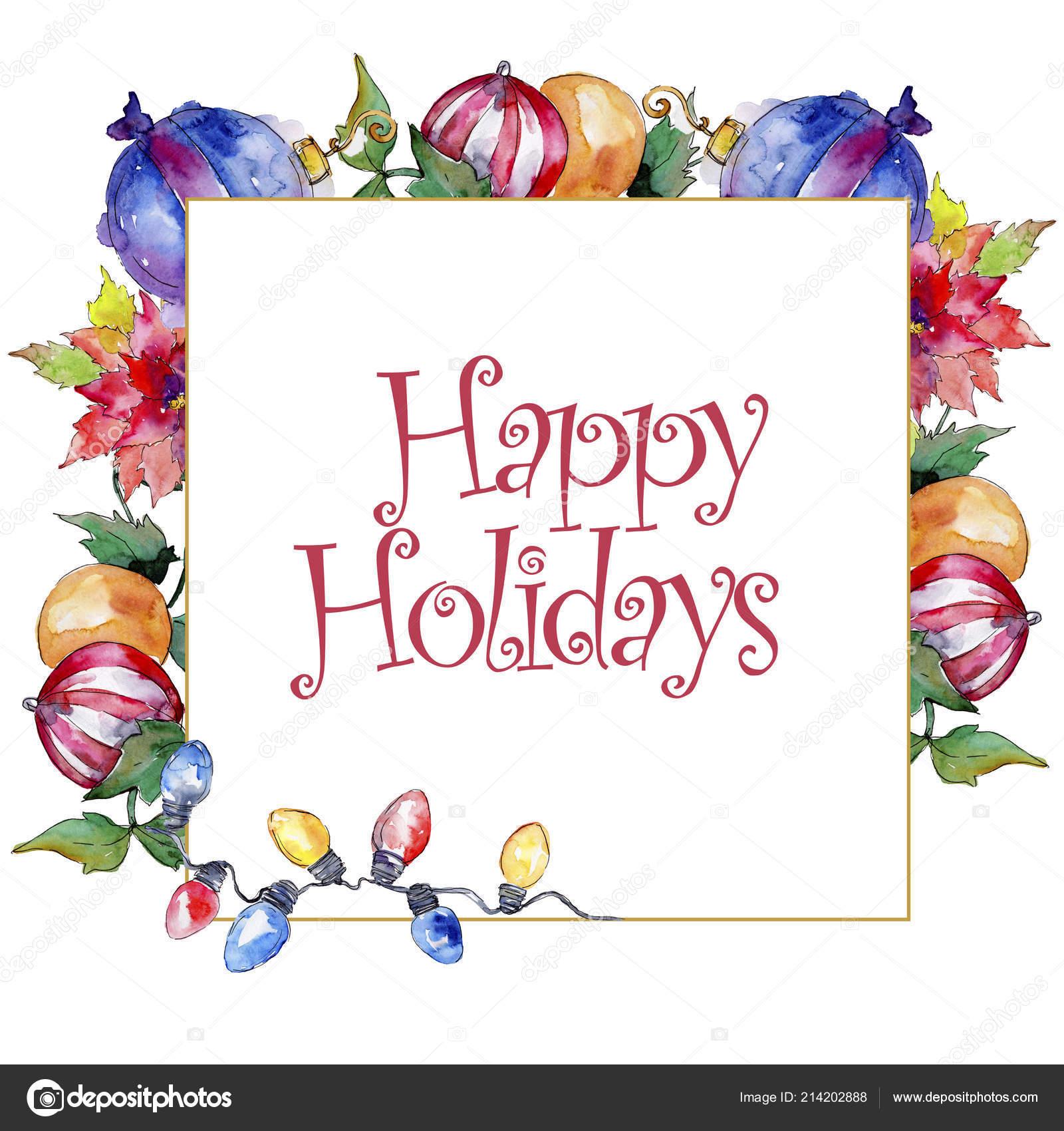 Symbole Vacances Noël Hiver Dans Style Aquarelle Carré à Symbole Noel