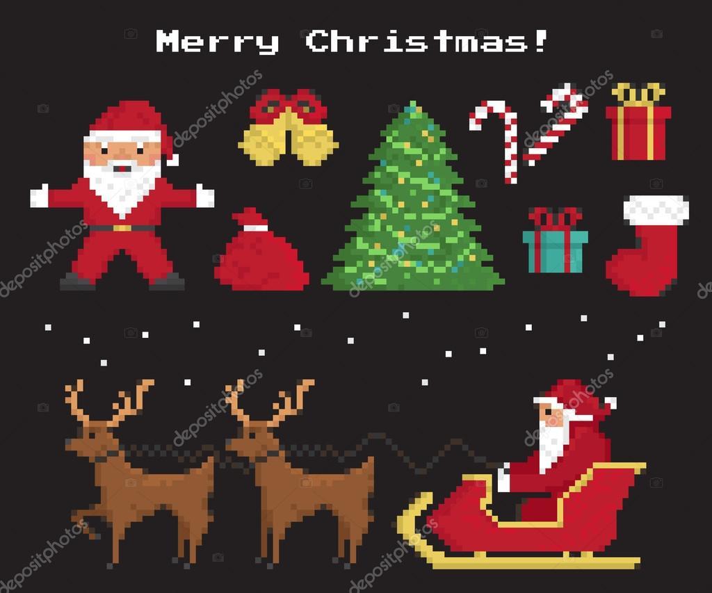 Symboles De Pixel Noël Ensemble — Image Vectorielle Julia dedans Symbole Noel