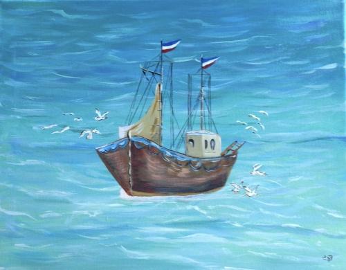 """Tableau (Acrylique) """"Bateau De Pêche En Mer Du Nord"""" Par L destiné Dessiner Un Bateau De Peche"""