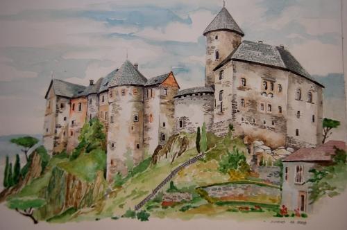 """Tableau (Aquarelle) """"Chateau Du Moyen-Âge"""" Par L'Artiste dedans Dessin Chateau Moyen Age"""