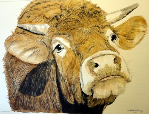 """Tableau (Aquarelle) """"La Vache À Vincent"""" Par L'Artiste intérieur Dessin D Une Vache"""