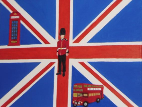 Tableau Peinture Drapeau Anglais Garde Anglais Cabine à Garde Anglais Dessin