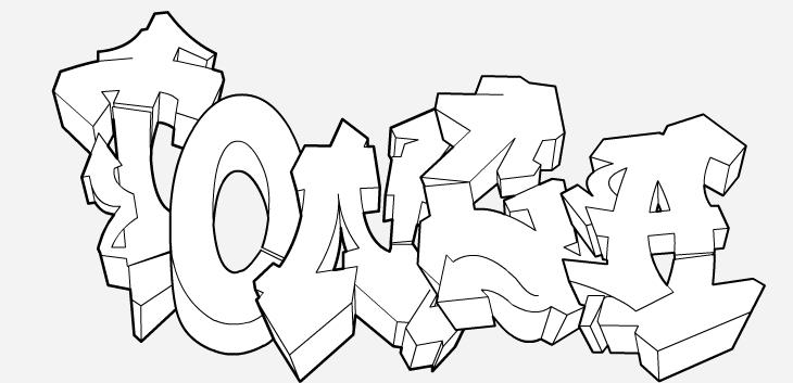 Tag À Colorier (Prénom, Phrase) dedans Coloriage Tag Graffiti