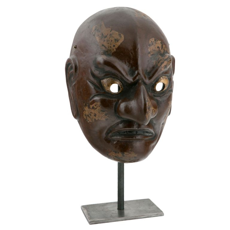 Taisho Period Noh Mask. Japan, 1910, Papier Mache, Lacquer intérieur Fabrication Masque Halloween