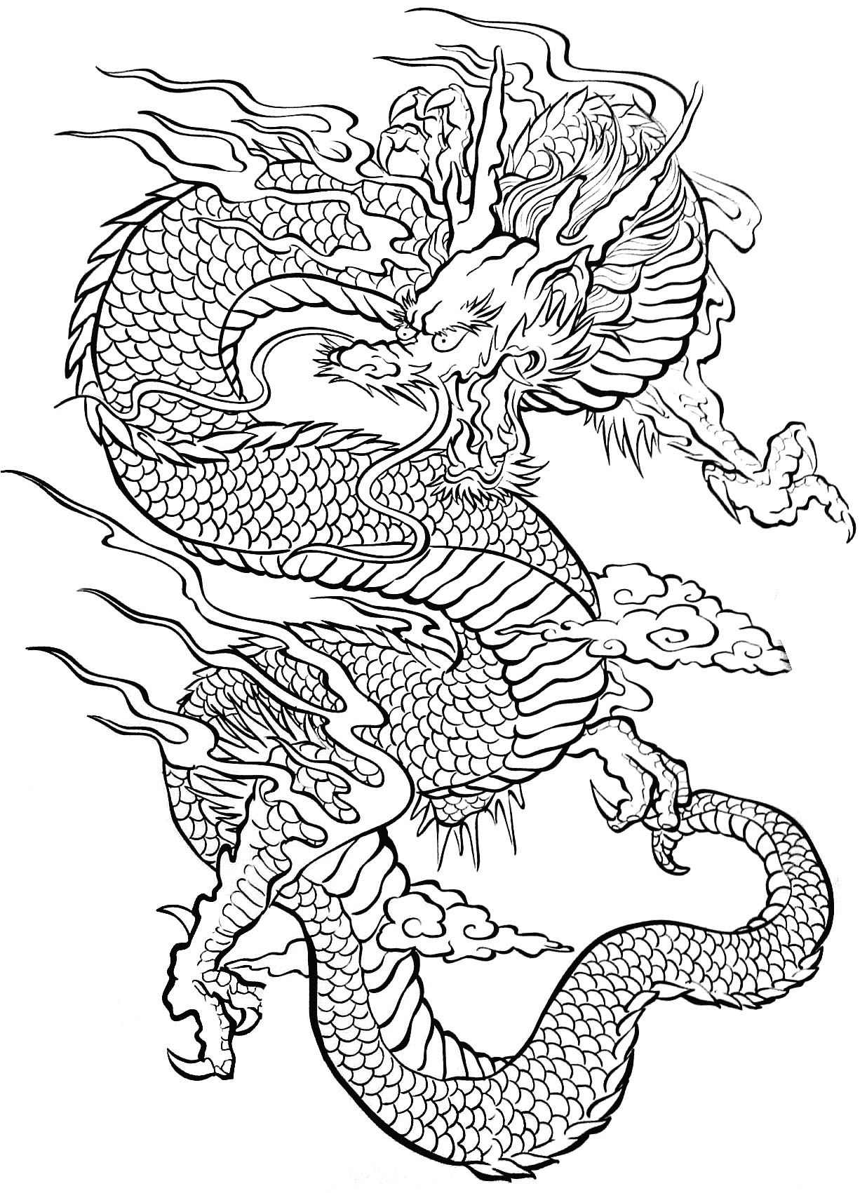 Tattoo Dragon - Tattoos Coloring Pages For Adults - Just tout Coloriage Dragon Chinois