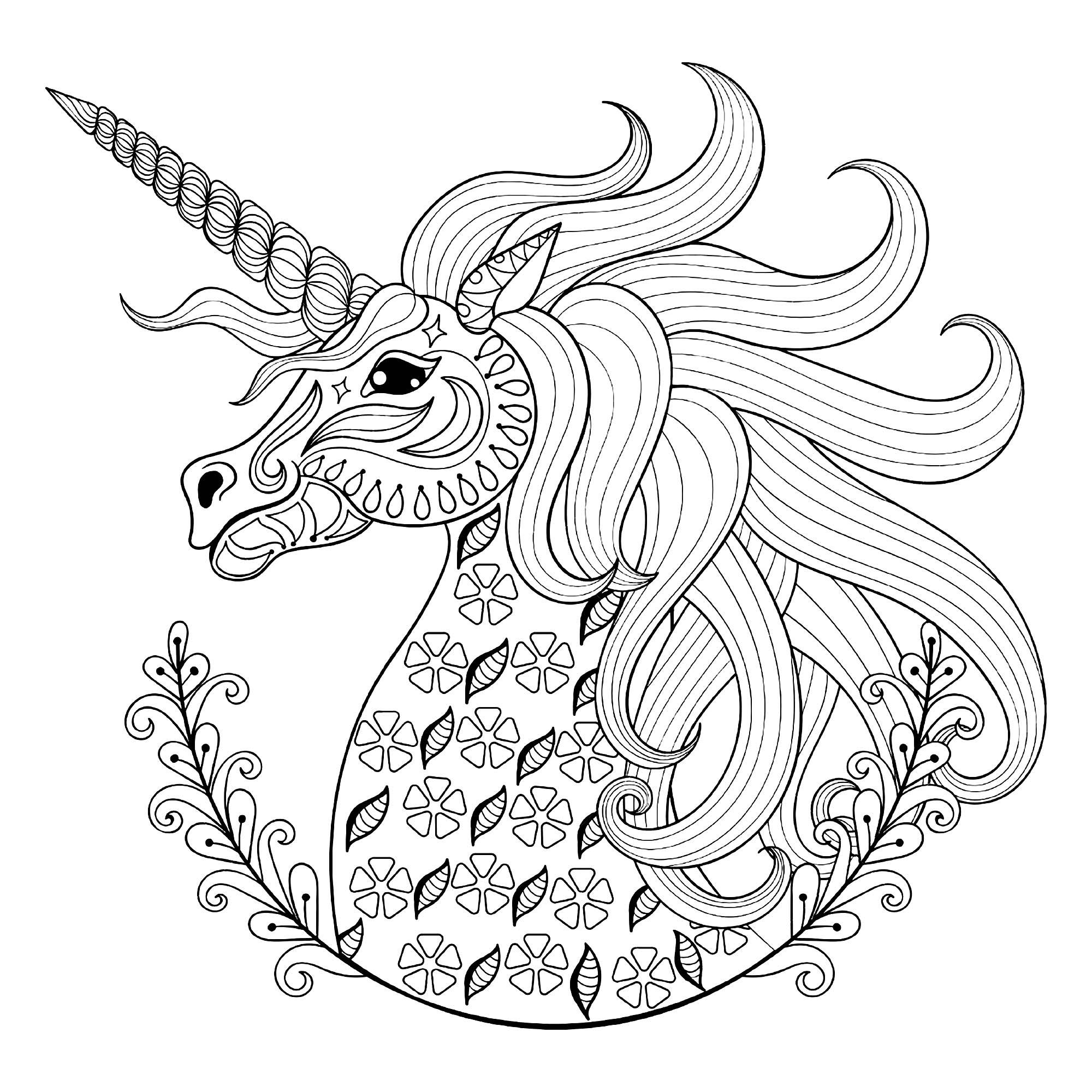Tete De Licorne Avec Motifs - Licornes - Coloriages concernant Coloriage Licorne