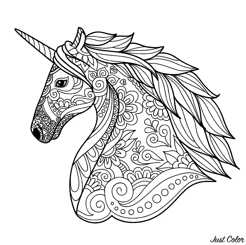 Tete De Licorne Simple - Licornes - Coloriages Difficiles à Licorne Coloriage