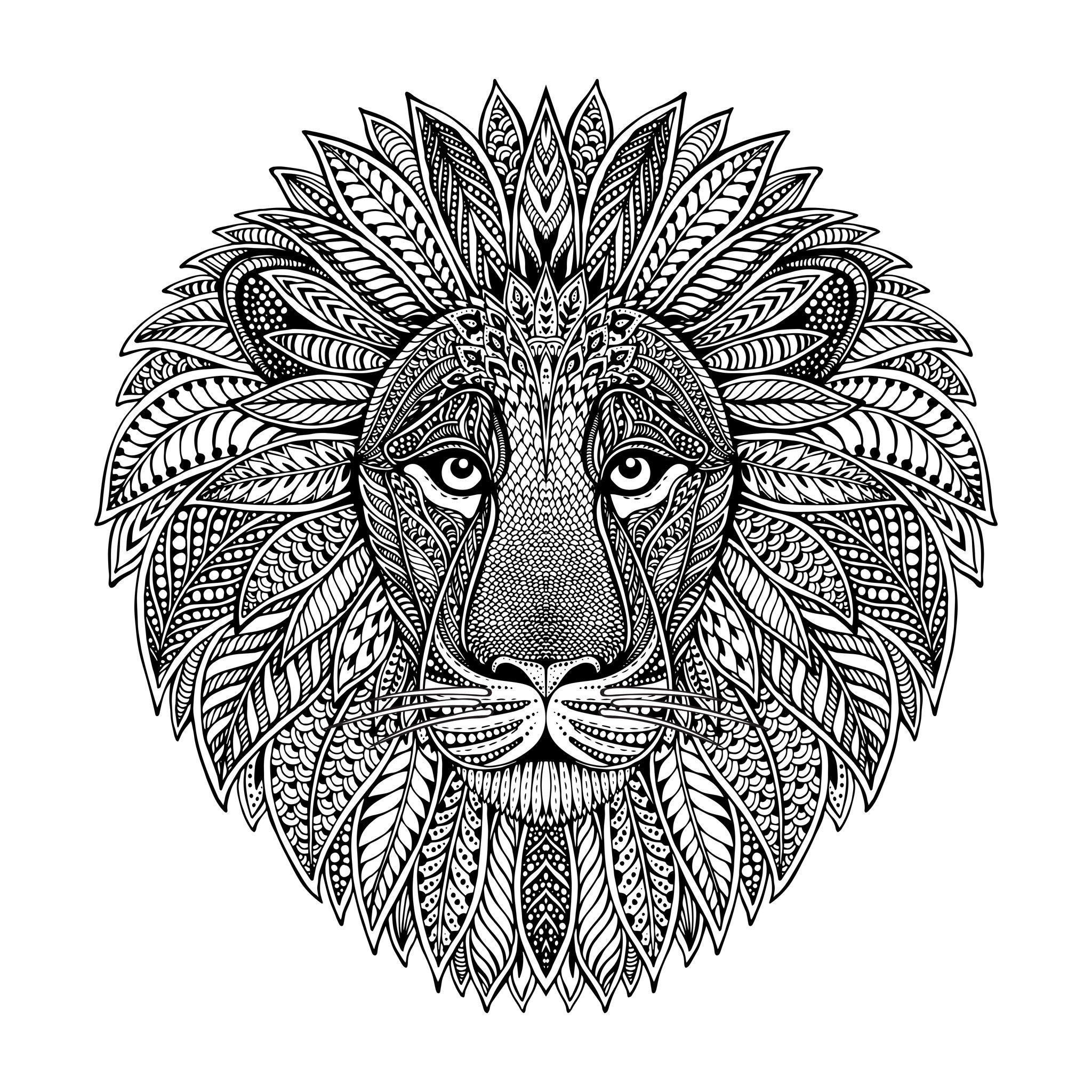 Tete De Lion Style Mandala - Lions - Coloriages Difficiles avec Coloriage Styl? ? Imprimer