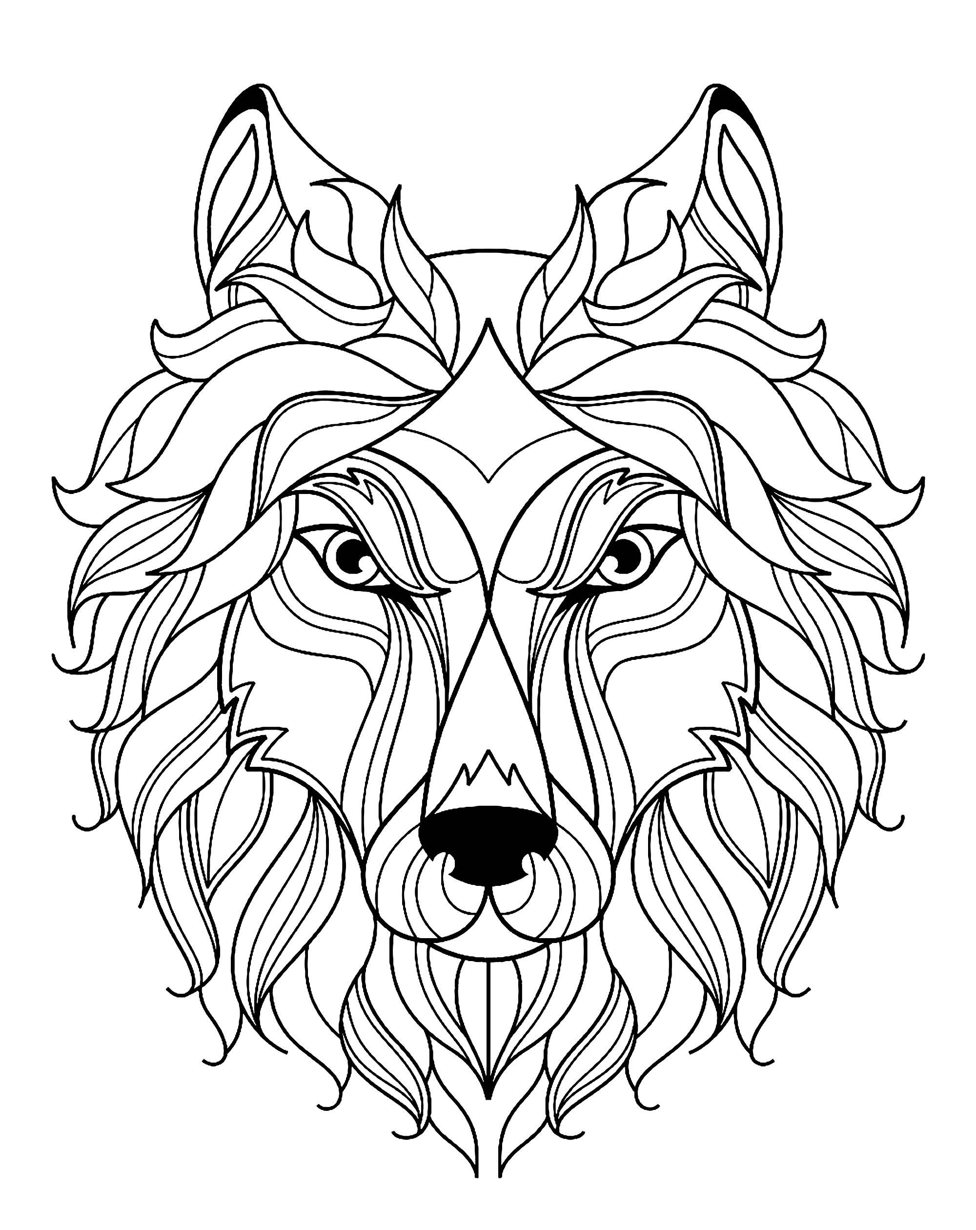 Tete De Loup Simple - Loups - Coloriages Difficiles Pour destiné Des Coloriage