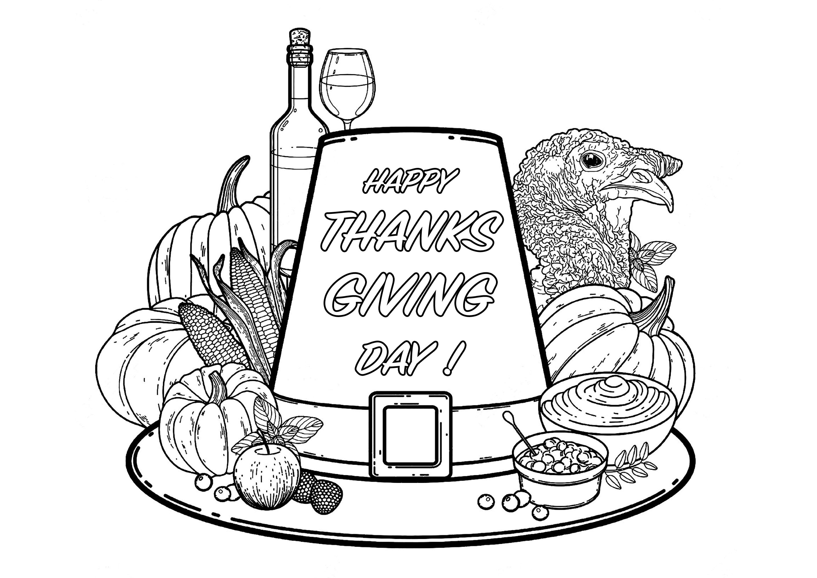 Thanksgiving Day - Thanksgiving - Coloriages Difficiles avec Coloriage Happy Color