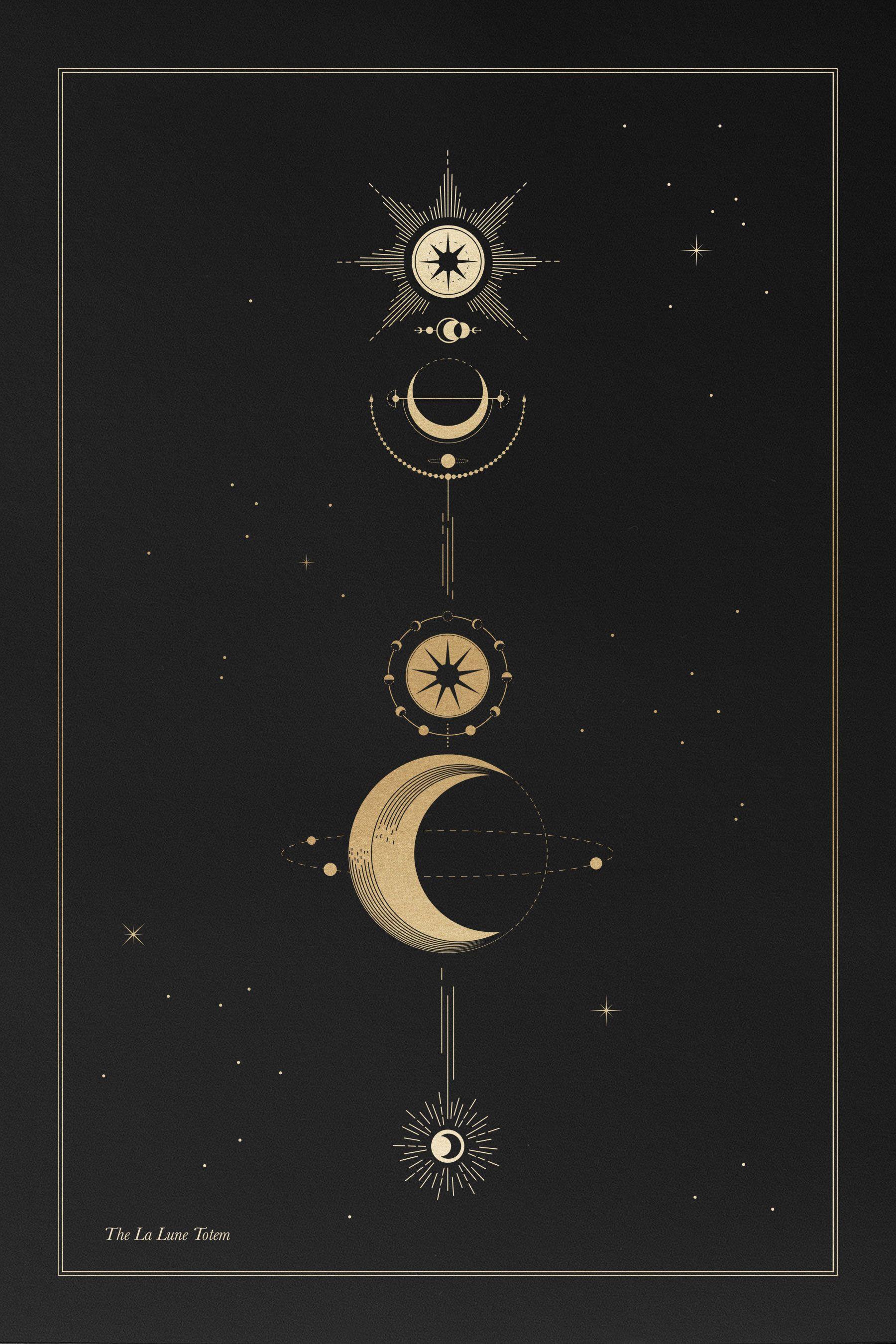 The La Lune Totem – Cocorrina | Geometric Tatto, Idées De intérieur Au Clair De La Lune Text