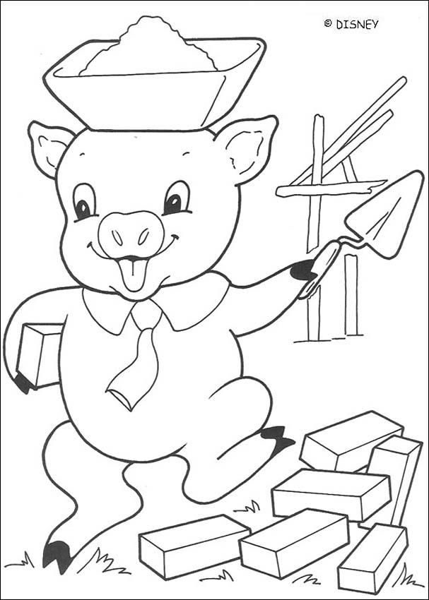 Three Little Pigs Coloring Pages - Big Bad Wolf Is Blowing concernant Dessin Des 3 Petit Cochon