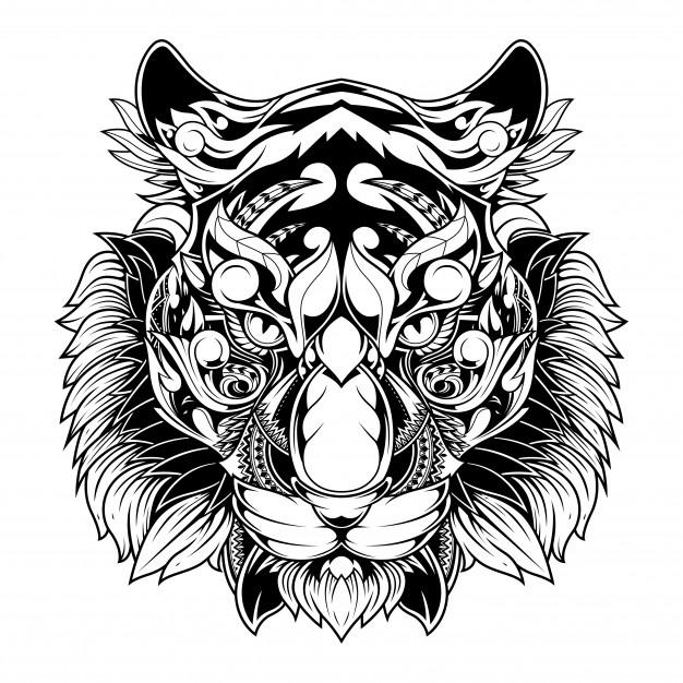 Tigre Doodle Ornamento Ilustração, Tatuagem E Tshirt pour Mandalas De Tigres